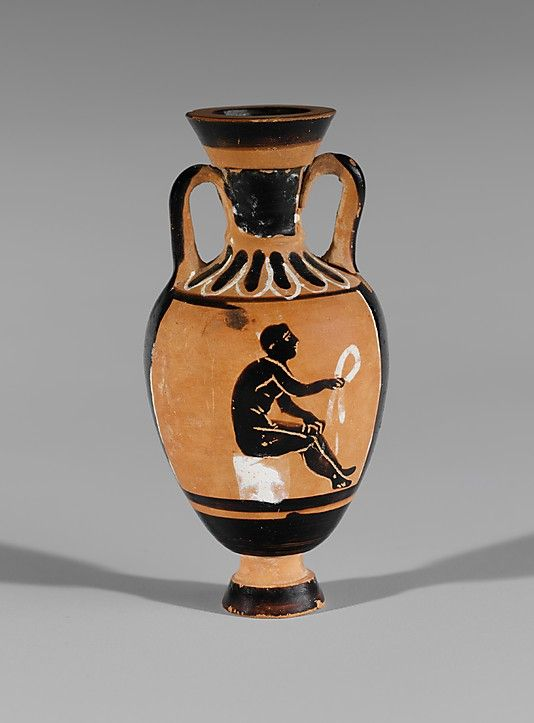 Attributed to the Bulas Group. Terracotta miniature Panathenaic amphora, ca. 400 B.C. Greek. The Metropolitan Museum of Art, New York. Rogers Fund, 1906. (06.1021.156)