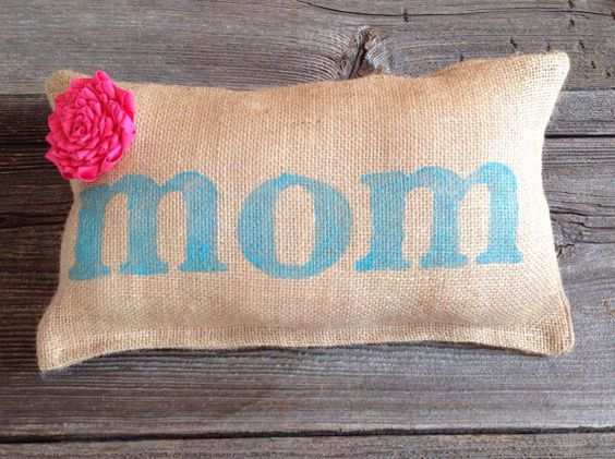 Mom pillow  personalized pillow  personalized burlap by JadieCakes, $22.00