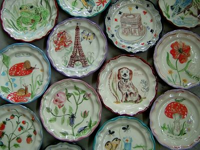 French Plates: Plates Nathalie, Anthropologie Dishes, Painted Ceramic Plates, Lete Anthropologie, Lete Plates, Icat Nathalielete, Nathalie Lete, Nathalielete Kitchenware, Lete S Plates