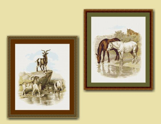 A Visit to the Farm Cross Stitch Charts, Horse and Goat Cross Stitch Patterns, Instant PDF Digital Downloads, Embroidery, Needlework