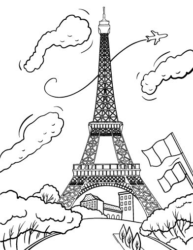 Printable Eiffel Tower Coloring Page Free PDF Download At