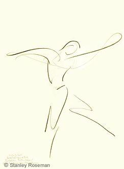 "Drawing by Stanley Roseman of Paris Opera star dancer Kader Belarbi, ""The Four Seasons,"" 1996, Uffizi Gallery, Florence. © Stanley Roseman"