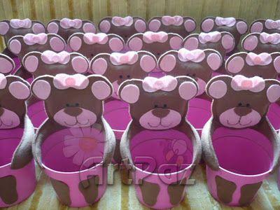 Lembrancinhas ursinha marrom e rosa
