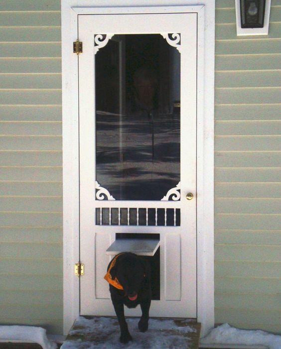 Pet door wisteria screen storm door with p3 pet door for Door with dog door