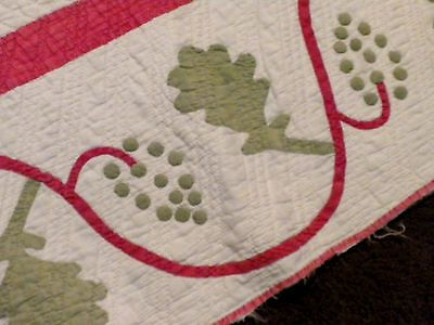 The Best 1850's Antique Old Handmade Pink Green Flower Grapes Applique Quilt | eBay