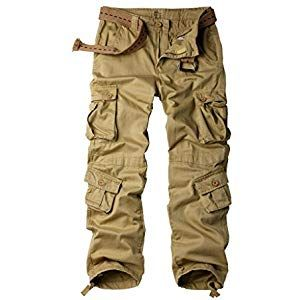 Mens Cotton Cargo Regular Trouser Combat Trouser Workwear Hiking Trousers with Multi-Pockets