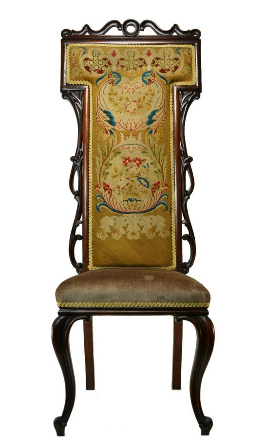 Tall Back Mahogany and Rosewood Needlepoint Chair, Antique English  Victorian… - Tall Back Mahogany And Rosewood Needlepoint Chair, Antique English