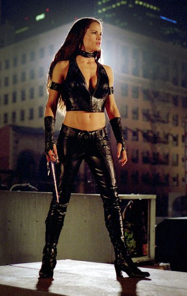 Elektra in Daredevil, Jennifer Garner | This one's all about the accessories. Those gloves! Those armbands! That choker!