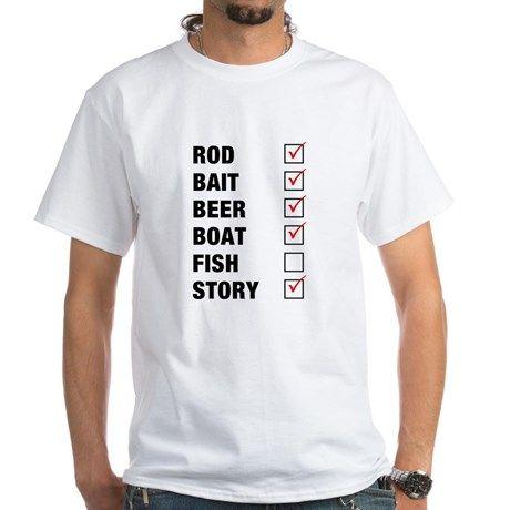 Fishing Check Off List Funny T-Shirt on CafePress.com