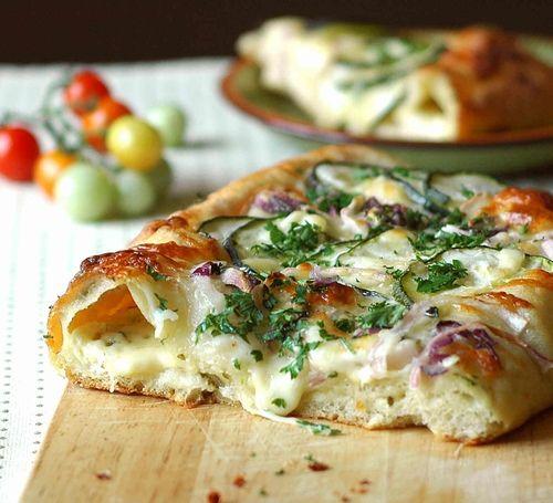 Cheesy Zucchini and Red Onion Sourdough Flatbread