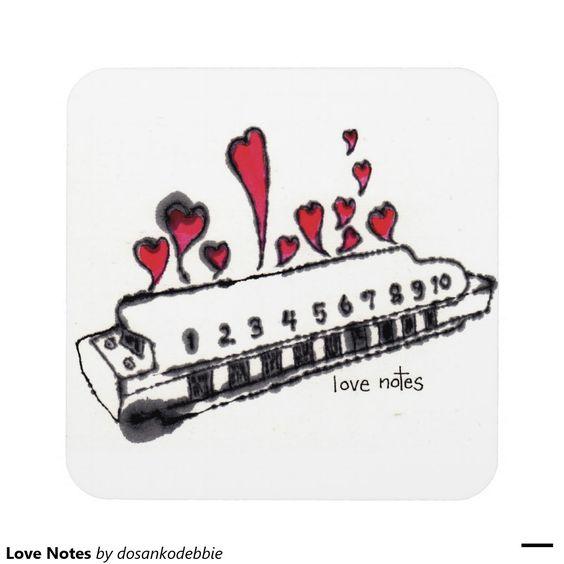 Love Notes Drink Coasters, etegami art,