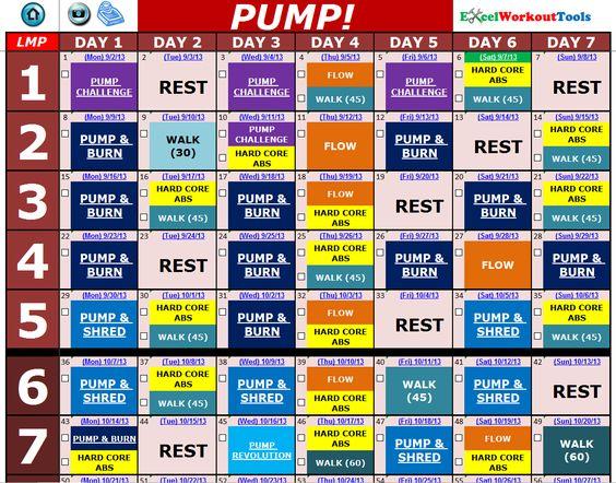 Les Mills PUMP « Excel Workout Tools