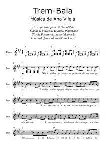 Trem Bala Ana Vilela Partituras Partitura Para Violino