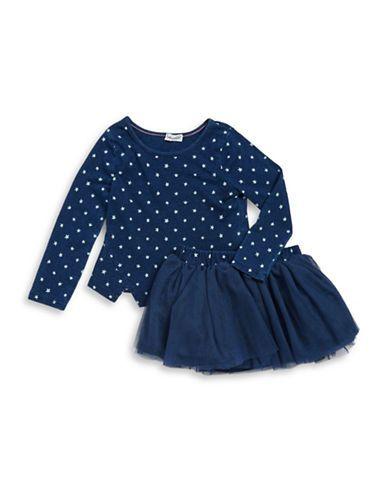 Splendid Girls 2-6x Star Print Tee and Tulle Skirt Set  Dark Stone 4T