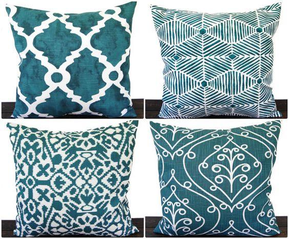 Pillow, Throw Pillow, Pillow Cover, Cushion, Decorative Pillow, Plantation Blue Green teal