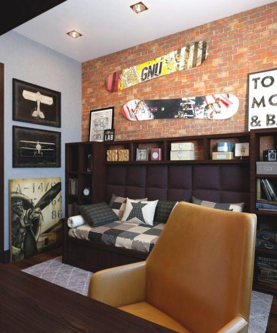 wandgestaltung jugendzimmer junge street stil tapete backsteinwand ...