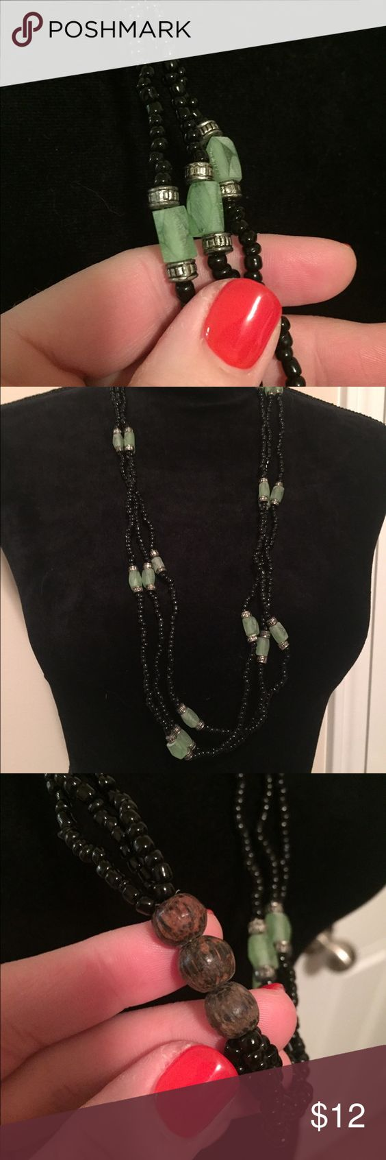 Beautiful Green & Black Beaded Necklace!! Love this necklace!!  It can be worn from day to night.  Great for the office, running around town, or going out for a special dinner.  The color pops. Jewelry Necklaces