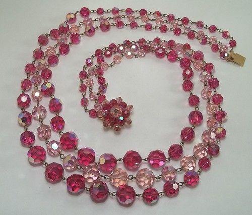 Vintage 3 Strand Pink Fuchsia Aurora Borealis Faceted Glass Bead Necklace   eBay