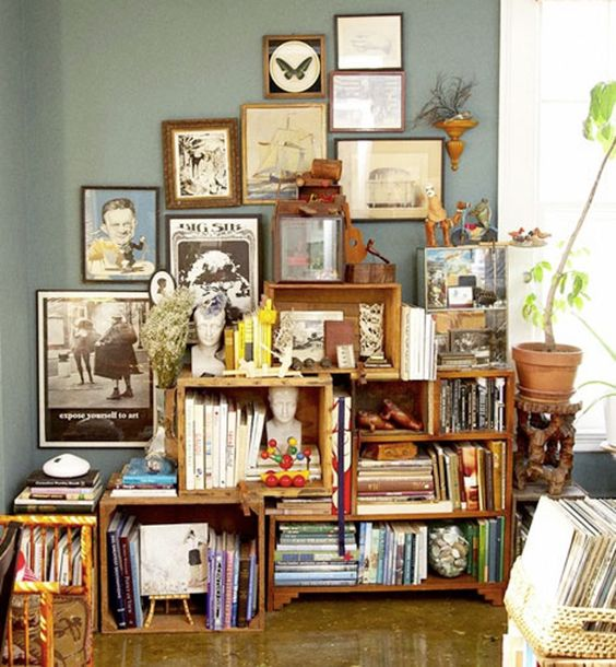 Bookshelves from Wooden Crates