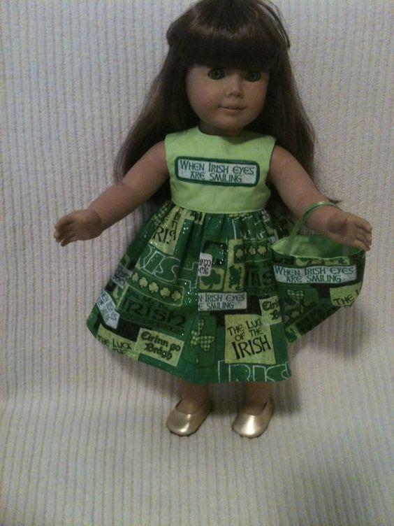 18 inch Doll modeled by American Girl Irish Dress by peggysprozac