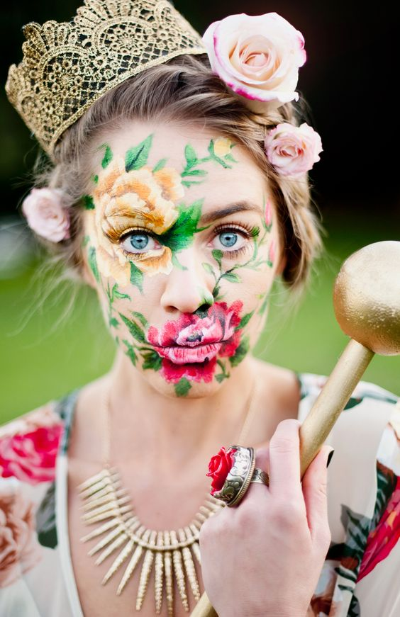 face painting at its best --Flower Face : Mumu Fall 13 Photo-shoot floral makeup fantasy