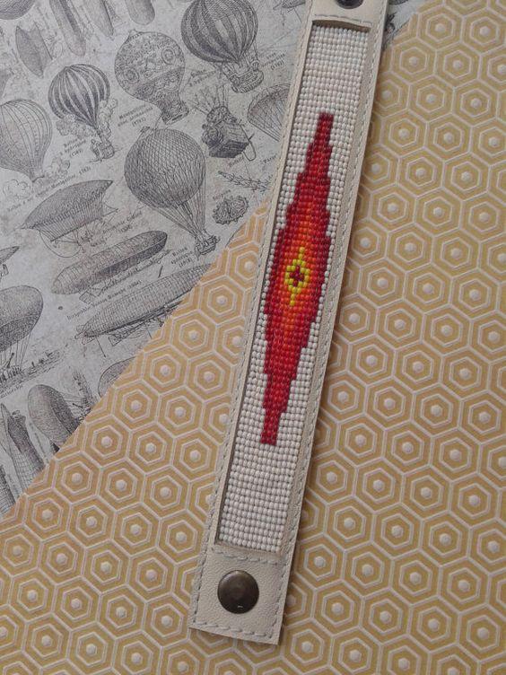 Aztec inspired cuff bracelet. Leather cuff by BeadAndLeatherStudio