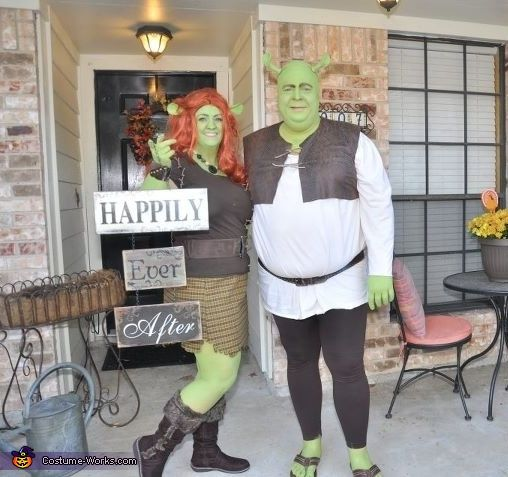 Might have to do this with Chris!! (Of course since he really is an ogre, I don't know if anybody would notice he's in costume!) ~KT {Shrek and Fiona - Homemade Halloween Costumes}