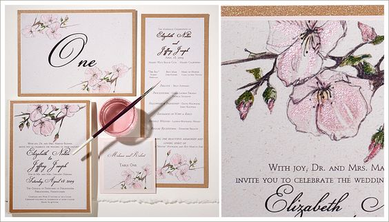 Flower wedding invitations | Momental Designs – Unique Handmade Wedding Invitations, Custom Invitations by Artist, Kristy Rice
