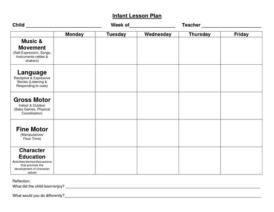 infant blank lesson plan sheets | Provider Sample Lesson Plan ...