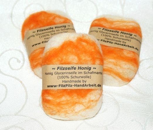 umfilzte Seife / Filzseife Honig von  Feludara-Design auf DaWanda.com