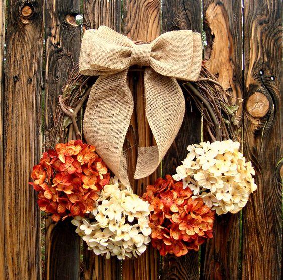 Pumpkin and Cream Hydrangea Wreath - Fall Hydrangea Wreath - Grapevine Wreath with Burlap Bow - Rustic Decor - Door Wreath - Autumn Wreath by Frontporchdecor on Etsy https://www.etsy.com/listing/165463009/pumpkin-and-cream-hydrangea-wreath-fall
