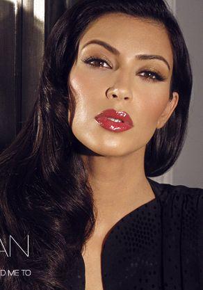 Kim Kardashian Wearing Red Glossy Lip Gloss Makeup Look Done By