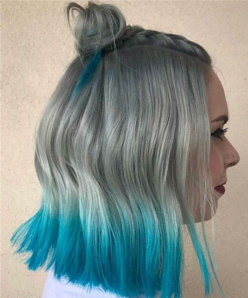 Wonderful Blue Dyed Grey Hair Color And Half Updo Hairstyles For Women Hair And Comb Hair Styles Grey Hair Dye Grunge Hair