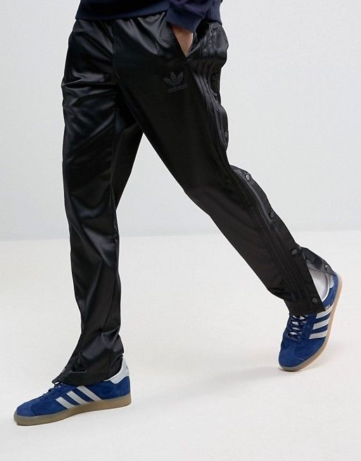 $80 ADIDAS MEN'S L SNAP BUTTON PANTS BLACK Trefoil Logo