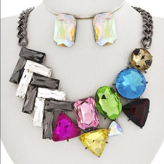 Hematite Multi color glass necklace set #buynow for $25 #inselly