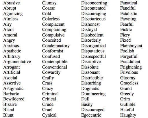 Negative Personality Adjectives Idioma Ingles Idiomas Ingles