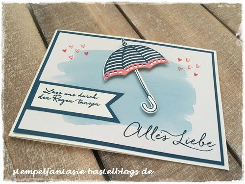 Stampin Up_Regenschirm_Donnerwetter_Regentage_weather together_umbrella weather_Karte_Card_Jeansblau_Flamingorot_Annual 2016 2017_Jahreskatalog_Stempelfantasie