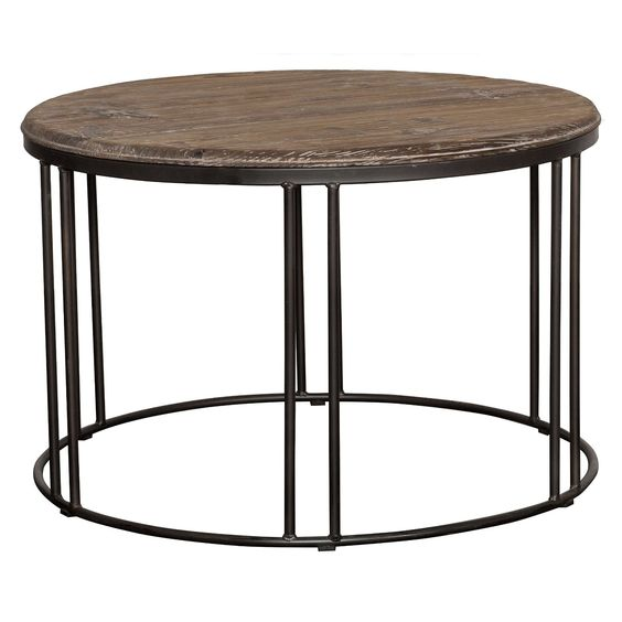 Amazon.com: Industrial Rustic Round Wood Top Coffee Table in Brown Finish - Includes Modhaus Living Pen: Kitchen & Dining