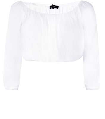 White Long Sleeve Gypsy Crop Top