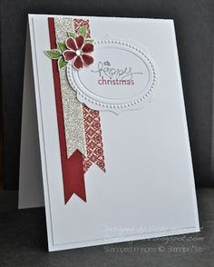 handmade Christms card .. clean and simple design .. three long strips of holiday papers with embossed and die cut label for the sentiment ... elegant look ... Stampin' Up!