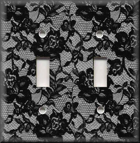 Light Switch Plate Cover - Black Floral Lace - Boho Gypsy Home Decor