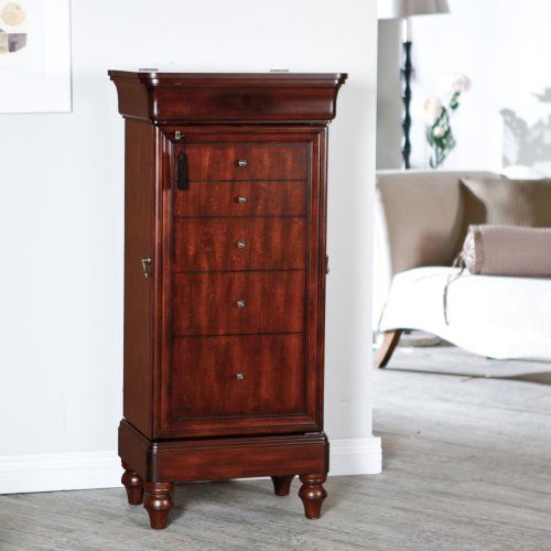 Belham Living Seville Antique Walnut Locking Jewelry Armoire - Jewelry Armoires at Hayneedle