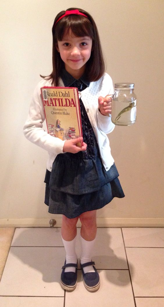 Matilda costume Book Week ideas. Newt in a jar too.