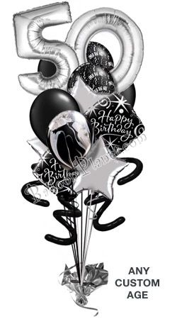 Black and white 50th ove the hill balloon bouquets | Custom Age Over The Hill Silver Balloon Bouquet (16 Balloons)