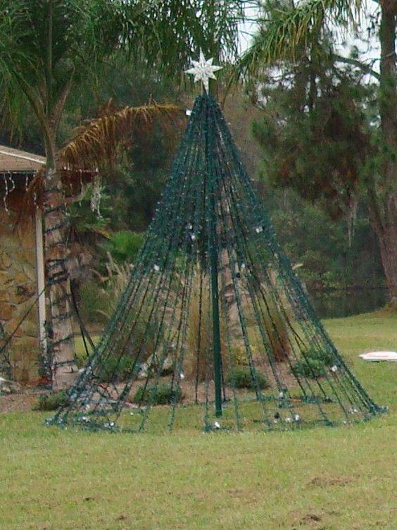 Yard Christmas Tree Out Of Lights Christmas Pinterest