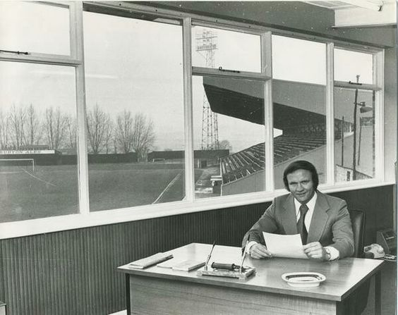 Manager of Kettering Town in 1971 was Ron Atkinson. He is at his desk at Rockingham Road.
