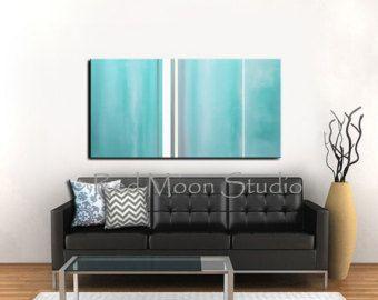 Pintura abstracta arte XLarge 54 x 24 por RedMoonStudioArt en Etsy