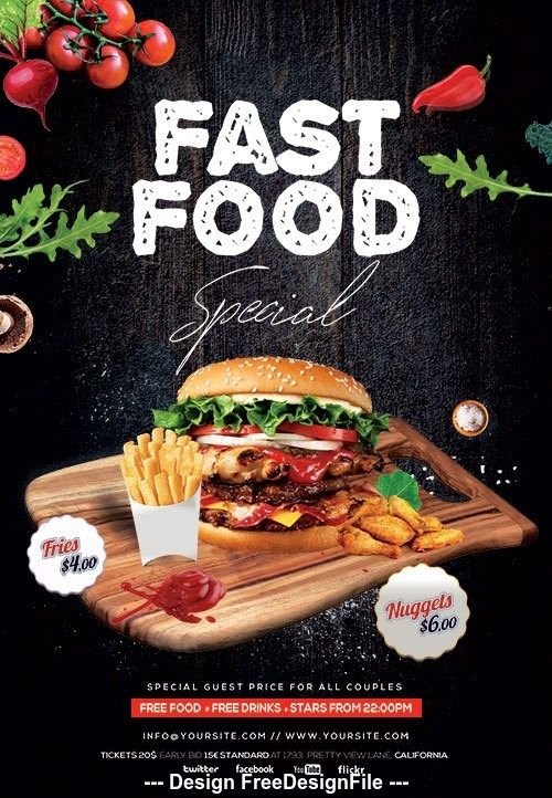 Fast Food Special Flyer Design Psd Template Free Download In 2020