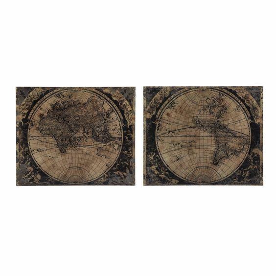 2 Holzbilder 120 x 100 cm ERDKARTEN