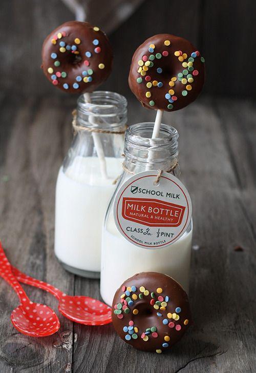 donut pops and milk bottles